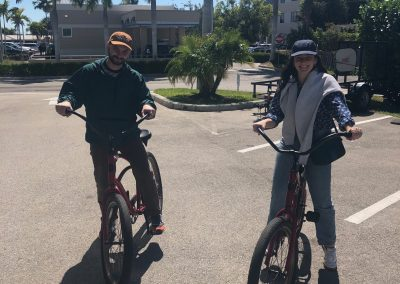 Man and woman on bicycle rentals