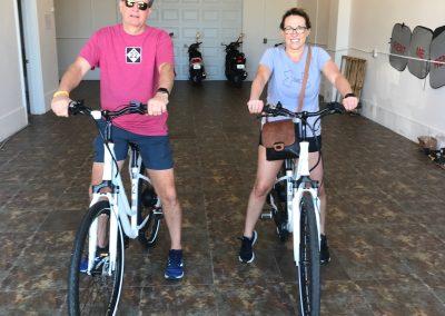 Couple on electric bike rentals in Fort Myers Beach Sun N Fun Sport Rentals